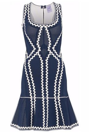 HERVÉ LÉGER Mesh-paneled embroidered bandage dress