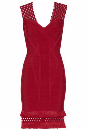 HERVÉ LÉGER Laser cut-paneled bandage mini dress