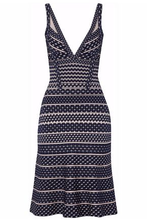 HERVÉ LÉGER Mesh-paneled printed bandage mini dress