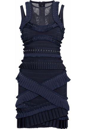 HERVÉ LÉGER Mesh-paneled embellished pleated bandage mini dress