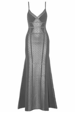 HERVÉ LÉGER Metallic-coated piqué-paneled bandage gown