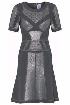HERVÉ LÉGER Metallic-coated piqué-paneled bandage mini dress