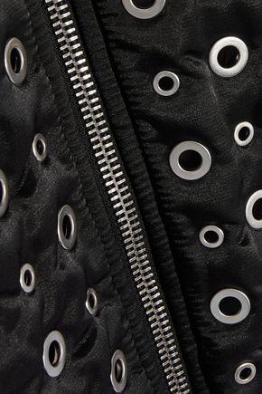 ALEXANDER WANG Leather-trimmed eyelet-embellished shell bomber jacket