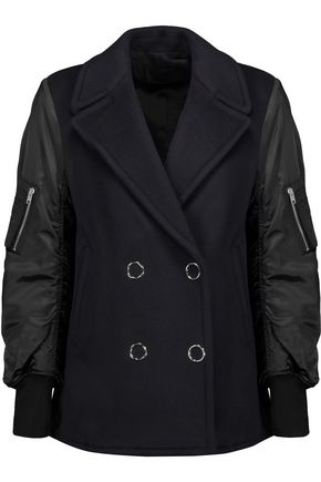 ALEXANDER WANG Paneled layered shell and wool-blend jacket