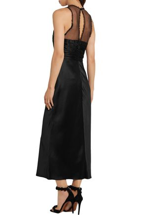 ALEXANDER WANG Studded tulle-paneled satin midi dress