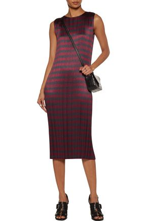 ALEXANDER WANG Pleated printed textured-satin dress