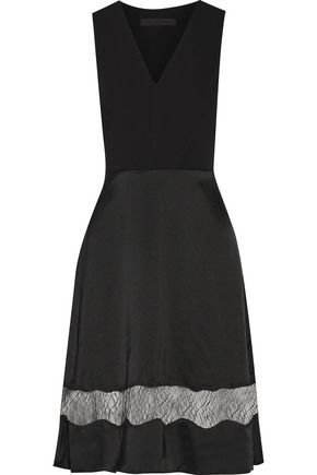 ALEXANDER WANG Lace-trimmed paneled silk-crepe and satin dress