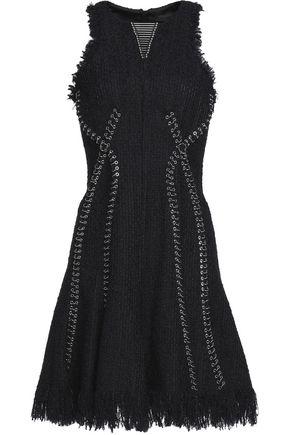 ALEXANDER WANG Embellished fringed tweed mini dress