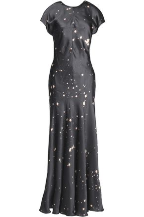 ALEXANDER WANG Printed satin maxi dress