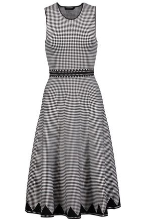ALEXANDER WANG Houndstooth stretch-knit midi dress