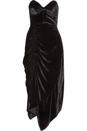 PREEN by THORNTON BREGAZZI Alexa strapless lace-trimmed velvet dress