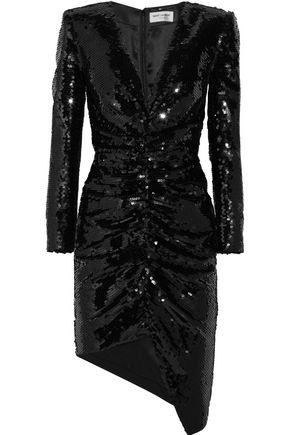 SAINT LAURENT Sequined silk-satin mini dress