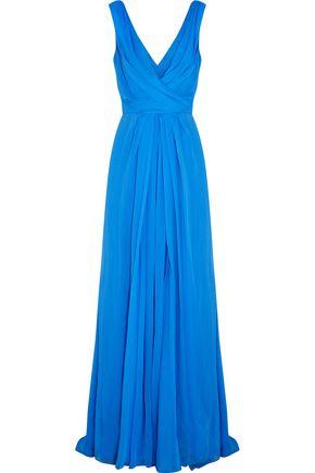 OSCAR DE LA RENTA Draped silk-crepe gown