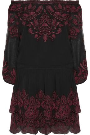 JOIE Cassopia off-the-shoulder embroidered crepe de chine mini dress