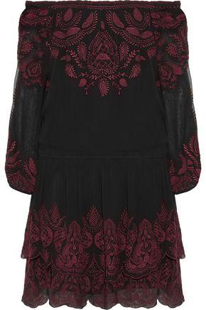 JOIE Cassopia off-the-shoulder embroidered crepe de chine mini dress