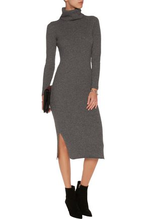 ALICE + OLIVIA Gwen ribbed wool and cashmere-blend midi dress