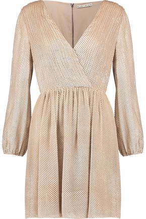 ALICE + OLIVIA Rania wrap-effect pleated devoré-velvet mini dress