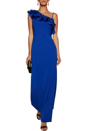 BADGLEY MISCHKA One-shoulder ruffled crepe de chine gown