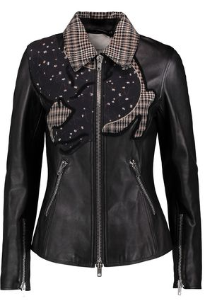 3.1 PHILLIP LIM Printed silk-satin, plaid wool and terry-trimmed leather jacket