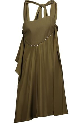 3.1 PHILLIP LIM Embellished paneled silk-satin and wool-blend dress