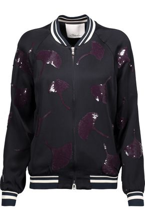 3.1 PHILLIP LIM Sequin-embellished washed-crepe bomber jacket