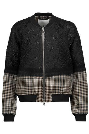3.1 PHILLIP LIM Paneled cloqué and houndstooth wool-tweed bomber jacket