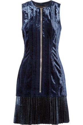 3.1 PHILLIP LIM Metallic chiffon-paneled velvet mini dress