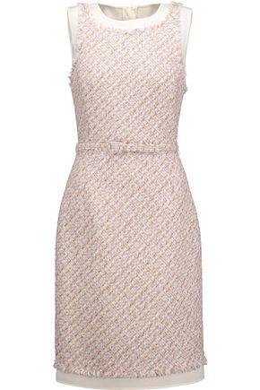 OSCAR DE LA RENTA Belted metallic tweed dress