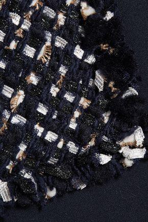 OSCAR DE LA RENTA Fringed metallic tweed jacket