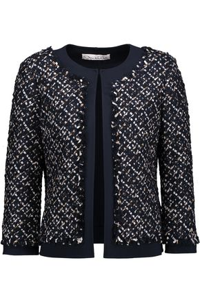 OSCAR DE LA RENTA Fringed metallic tweed jacket