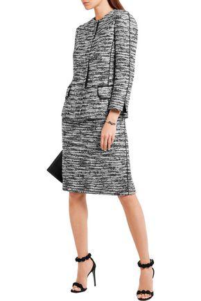 OSCAR DE LA RENTA Silk crepe de chine and bouclé-tweed dress