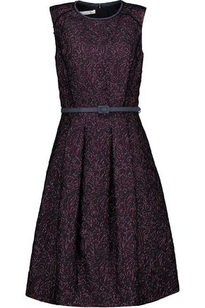 OSCAR DE LA RENTA Belted pleated metallic silk-jacquard dress