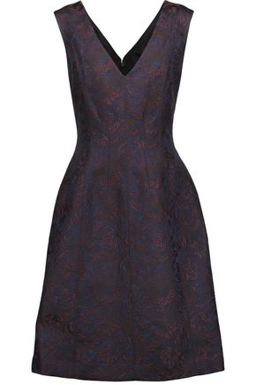 OSCAR DE LA RENTA Cotton-blend brocade dress
