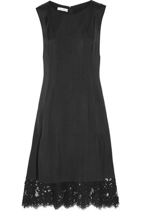 OSCAR DE LA RENTA Layered guipure lace and stretch-twill dress