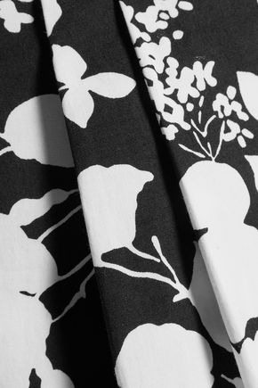 OSCAR DE LA RENTA Pleated floral-print cotton-blend poplin dress