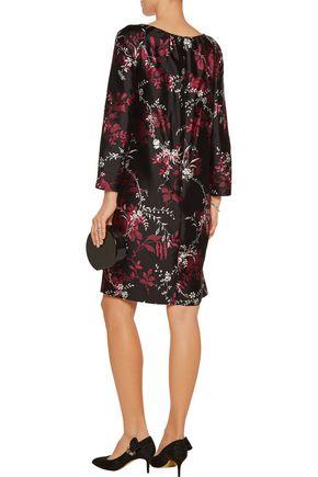 OSCAR DE LA RENTA Floral-print silk and cotton-blend dress
