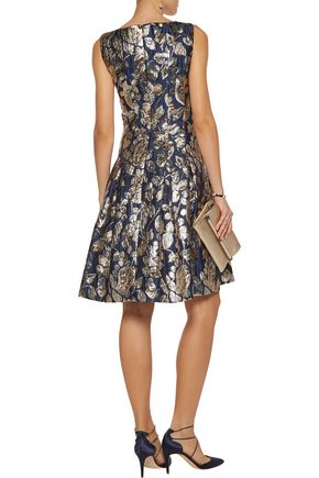 OSCAR DE LA RENTA Pleated metallic jacquard dress