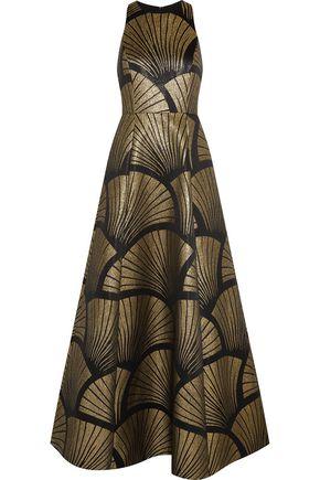 ALICE + OLIVIA Janessa metallic crepe gown