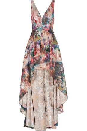 MARCHESA NOTTE Layered metallic jacquard gown