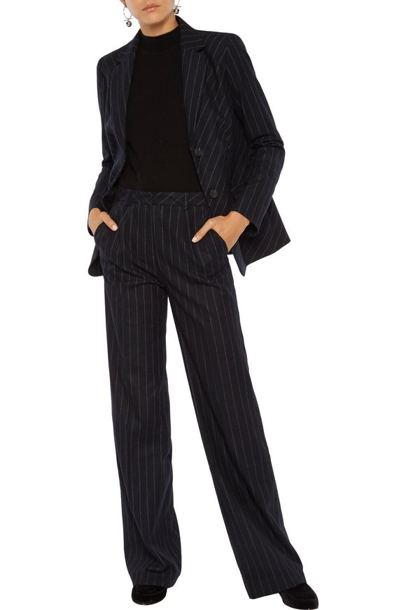 Verity striped felted twill jacket | IRIS & INK | Sale up to 70% off | THE  OUTNET
