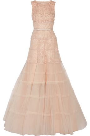 OSCAR DE LA RENTA Belted bead-embellished tulle and lace gown