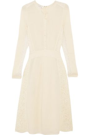 OSCAR DE LA RENTA Corded lace-paneled pointelle-knit dress