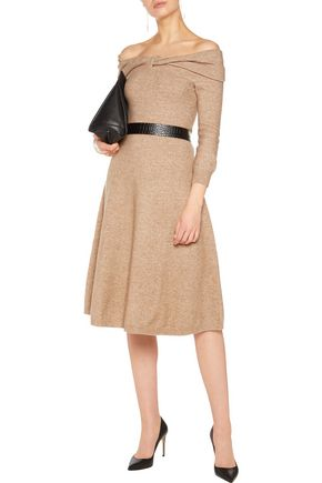 OSCAR DE LA RENTA Off-the-shoulder knitted dress