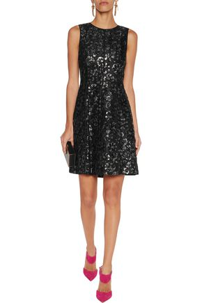 OSCAR DE LA RENTA Metallic floral-jacquard mini dress