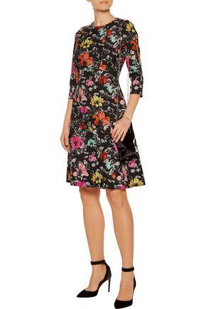 OSCAR DE LA RENTA Textured printed silk-blend dress