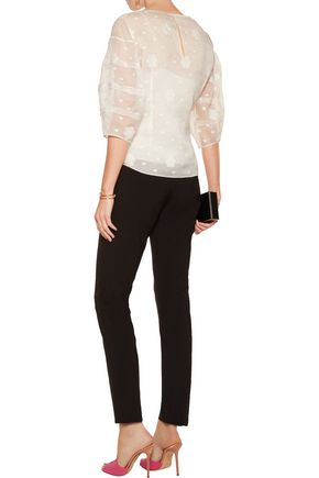 OSCAR DE LA RENTA Embroidered cotton-blend top
