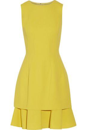 OSCAR DE LA RENTA Ruffled stretch wool-blend crepe dress