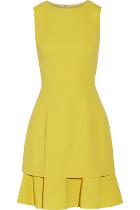OSCAR DE LA RENTA Ruffled stretch wool-blend crepe dress