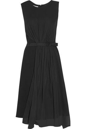 OSCAR DE LA RENTA Silk-paneled stretch wool-blend dress