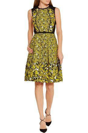 OSCAR DE LA RENTA Corded lace-paneled brocade dress